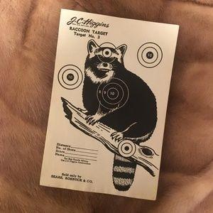 *Vintage NOS Paper Hunting Shooting Target Raccoon